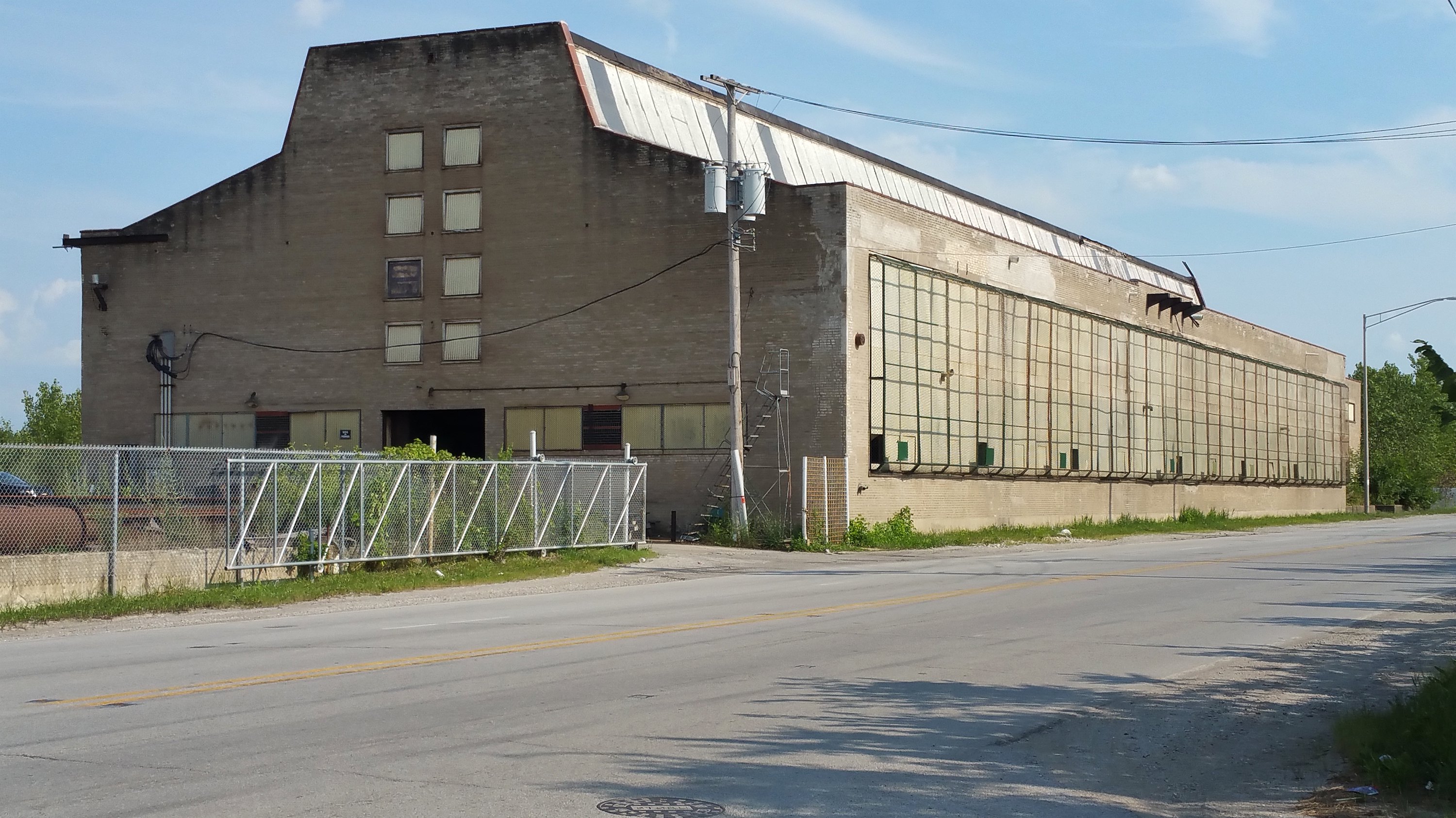 This building is one of the last two remnants of the century-old Wyman-Gordon factory where workers produced parts for military and commercial aircraft. The factory closed in 1986 and 350 workers lost jobs. (Cheryl Corley/NPR)