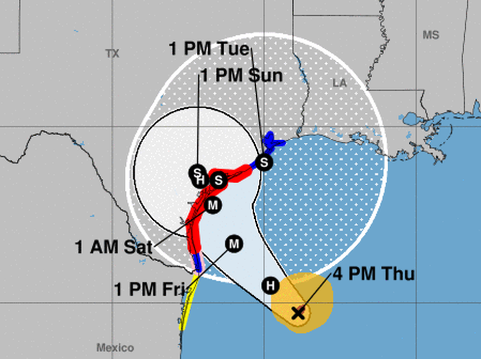 Harvey is expected to rapidly intensify into a major hurricane before it hits the middle of the Texas coast late Friday, according to the National Hurricane Center. (National Hurricane Center)