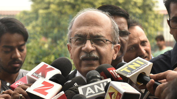 Senior lawyer Prashant Bhushan addressing the media about the right to privacy judgment at Supreme Court Thursday in New Delhi, India.