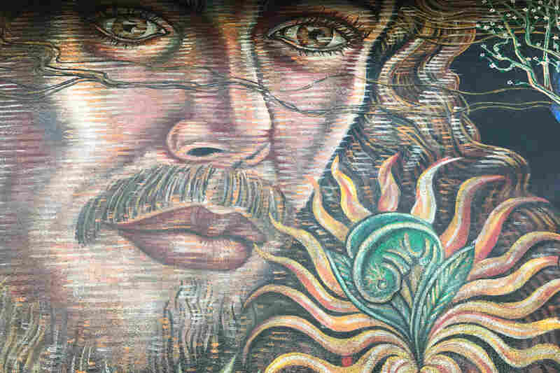 Detail of the Boyle Heights mural No Greater Love, which was painted by Paul Botello in 1992.