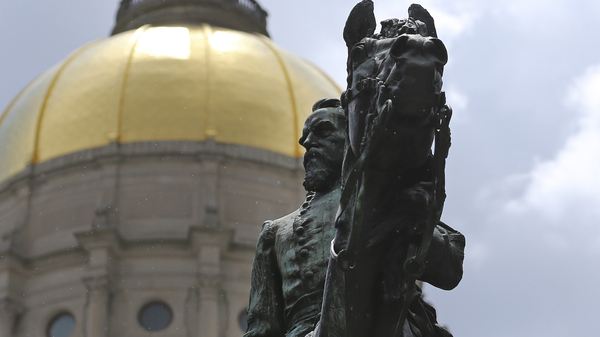 A statue depicting Confederate Gen. and former Georgia Gov. John Brown Gordon on horseback outside the Georgia Statehouse in Atlanta earlier this month. Gordon was also reputed to be a leader of the Ku Klux Klan.