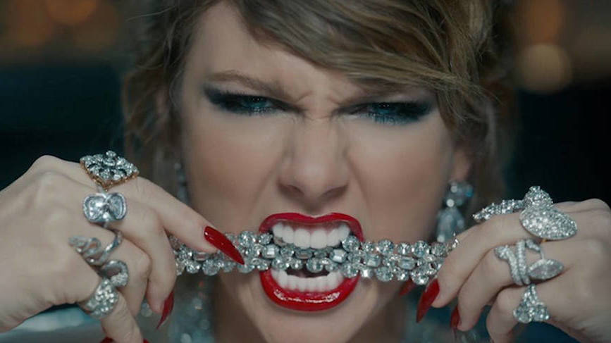 Taylor Swift in the Look What You Made Me Do video from her album, Reputation.