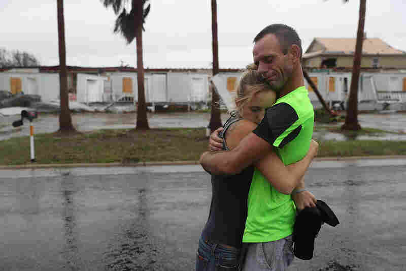 Jessica Campbell (left) hugs Jonathan Fitzgerald after riding out Hurricane Harvey in an apartment in Rockport, Texas. Jessica said is became very scary once Hurricane Harvey hit their town.