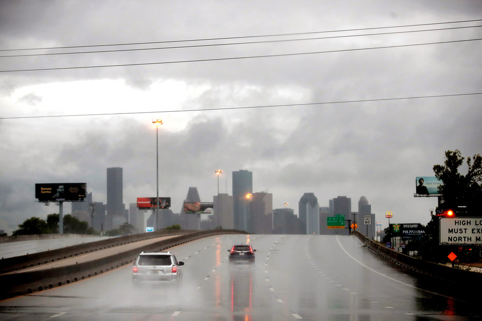 Rain from Hurricane Harvey batters Houston. Harvey is expected to dump upwards of 40 inches of rain in Texas over the next couple of days. (Scott Olson/Getty Images)