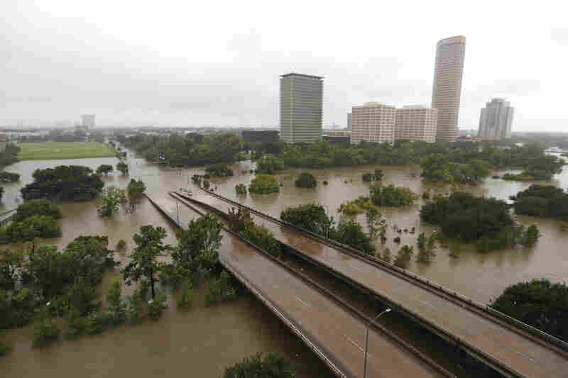 Overhead view of the floods from Buffalo Bayou in Houston, as heavy rains continued falling in the area.
