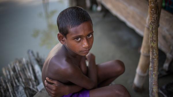 A boy on the outskirts of Bogra, Bangladesh, on Aug. 20.