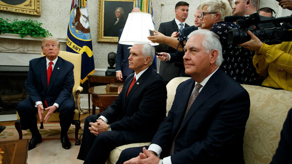 President Donald Trump, joined by Vice President Mike Pence and Secretary of State Rex Tillerson, listens to a question during a meeting with Finnish President Sauli Niinisto in the Oval Office on Monday. Tillerson, when asked Sunday whether Trump
