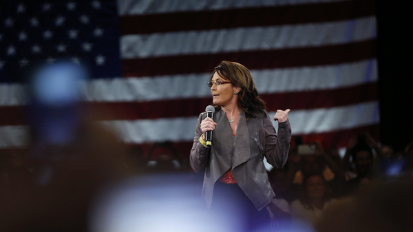 Former Alaska Gov. Sarah Palin speaks at a campaign event for then-candidate Donald Trump in 2016.