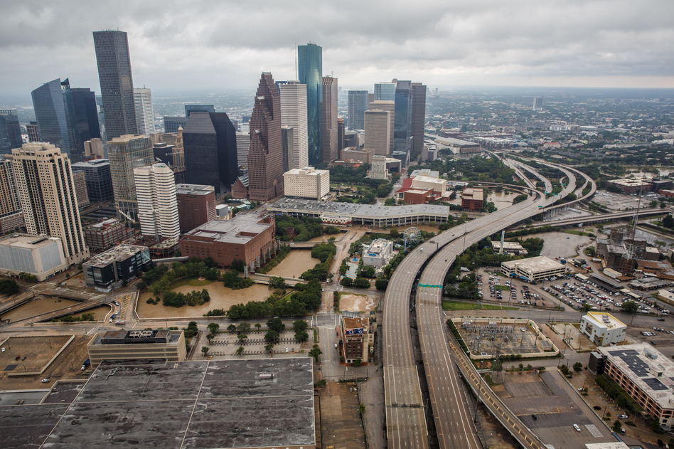 Parts of Houston remain flooded, but most hospitals are up and running, according to Darrell Pile, CEO of the Southeast Texas Regional Advisory Council, which manages the catastrophic medical operations center in Houston. (Marcus Yam/LA Times/Getty Images)