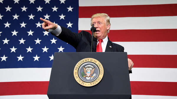 President Trump pitches tax overhaul at an event at the Loren Cook Co. in Springfield, Mo., on Wednesday.