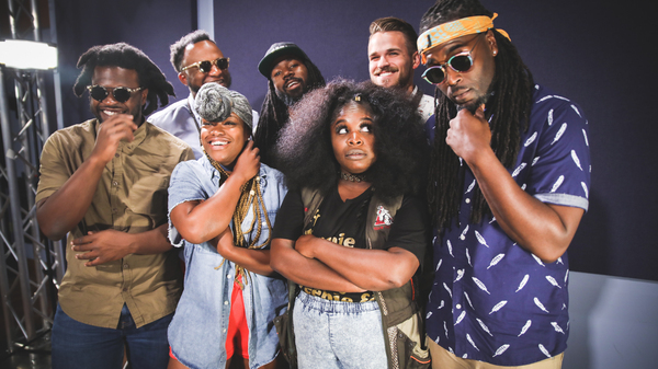 Tank and the Bangas inside the World Cafe Performance Studio