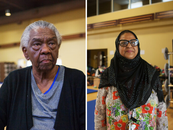 (Left) Mabel Rozier, 78, has been in Houston for 2 1/2 years. The night the hurricane hit, she had planned to stay in her apartment. She was on the third floor and was eventually rescued by boat. (Right) Samina Kasin is from Pakistan and is vice principal of the mosque's weekend school. She has been volunteering by organizing donations, cooking and cleaning. (Claire Harbage/NPR)