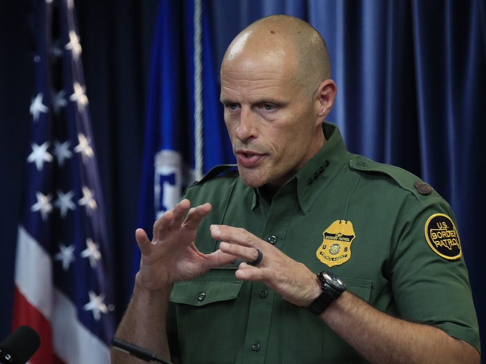 U.S. Customs and Border Protection Acting Deputy Commissioner Ronald Vitiello speaks to reporters about choosing four contractors to build the first prototypes of the border wall. (Manuel Balce Ceneta/AP)