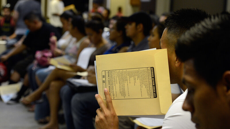 People at the Coalition for Humane Immigrant Rights of Los Angeles attend an August 2012 orientation class for filling out their application for the Deferred Action for Childhood Arrivals program. (Kevork Djansezian/Getty Images)