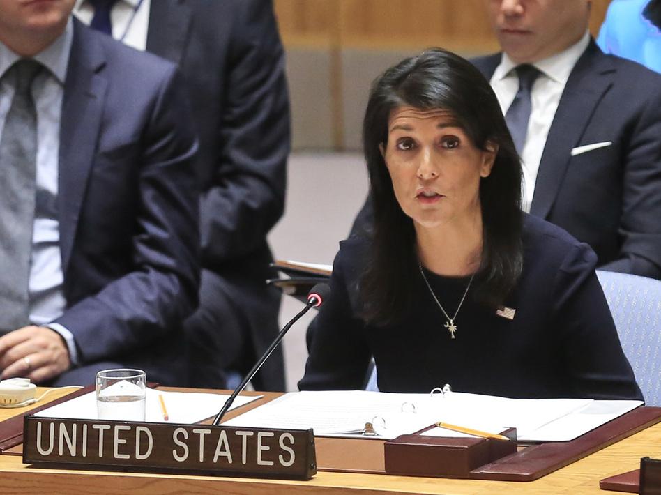 United Nations U.S. Ambassador Nikki Haley addresses a U.N. Security Council meeting on North Korea, on Monday. (Bebeto Matthews/AP)