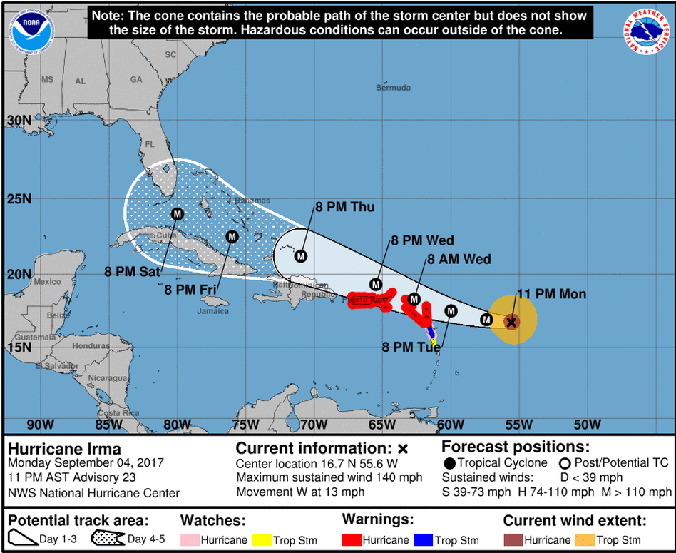 National Hurricane Center's projection of Irma's track. (National Hurricane Center)
