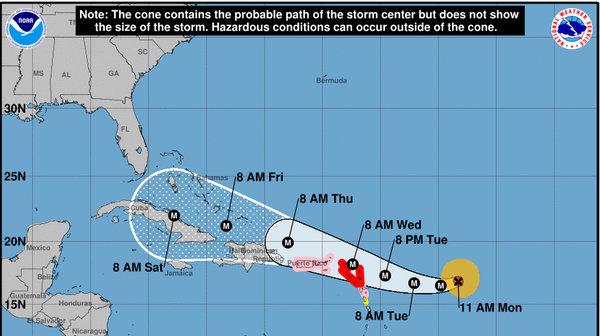 Forecast track for Hurricane Irma issued by the National Hurricane Center on Monday, Sept. 4, at 11 a.m. AST.