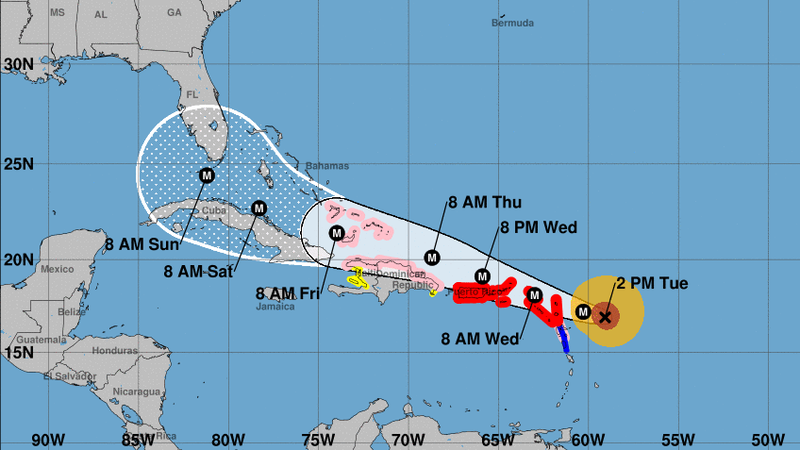 Irma is potentially catastrophic and is expected to remain a major hurricane as it makes its way west toward the U.S. mainland's coast, forecasters say. (National Hurricane Center)