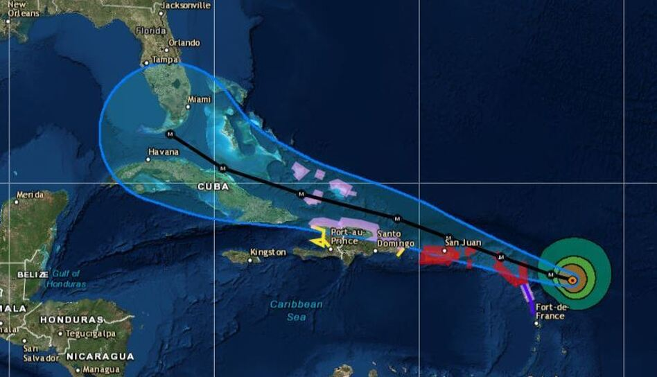 Hurricane Irma's likely path through the Caribbean is shown on this NOAA map from its 2 p.m. ET advisory Tuesday. The blue lines show its potential track, not the outer edge of Irma's strong winds. (National Hurricane Center)
