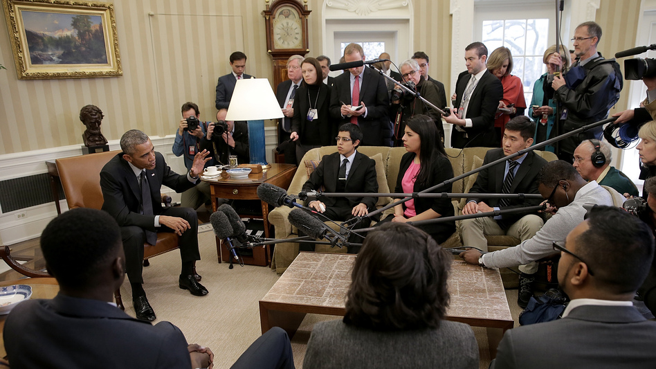 Then-President Barack Obama in a 2015 meeting with a group of DREAMers, who received protection from Deferred Action for Childhood Arrivals. Obama reacted strongly to President Trump's reversal of the policy. (Win McNamee/Getty Images)