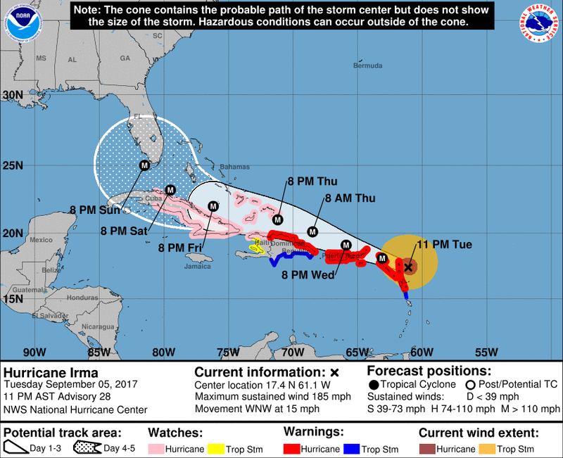 Category 5 Hurricane Irma's Winds Top 185 MPH As It Nears