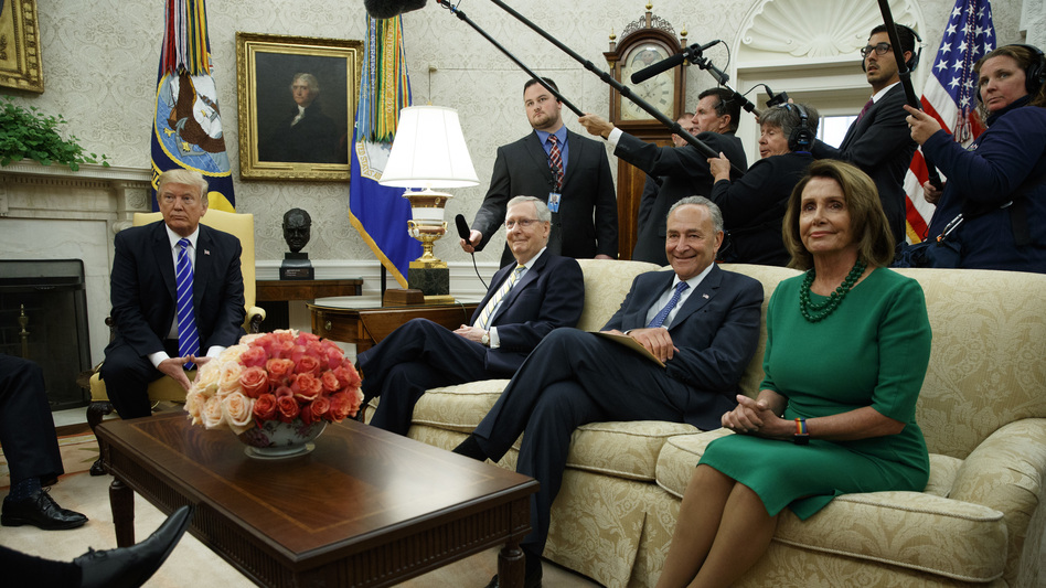 President Trump meets with Senate Majority Leader Mitch McConnell, R-Ky., Senate Minority Leader Chuck Schumer, D-N.Y., House Minority Leader Nancy Pelosi, D-Calif., and other congressional leaders in the Oval Office on Wednesday. (Evan Vucci/AP)