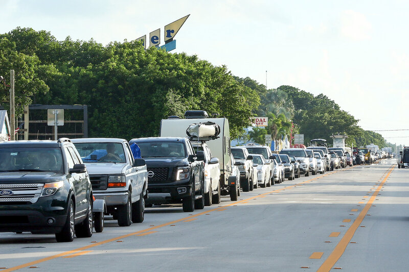 Traffic on Overseas Highway in Islamorada in the Florida Keys is backed up as people fleeing Hurricane Irma head north Tuesday. Visitors were told to leave on Wednesday, under mandatory evacuation orders that took effect at 7 a.m. ET. (Marc Serota/Getty Images)