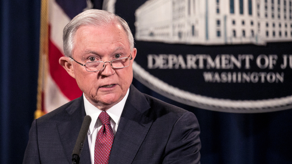 U.S. Attorney General Jeff Sessions announces the president's decision to end the Deferred Action for Childhood Arrivals program on Tuesday. (The Asahi Shimbun via Getty Images)