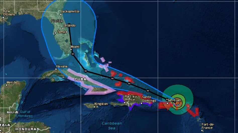 """A Category 5 storm, Hurricane Irma's """"extremely dangerous core"""" is moving over parts of the U.S. Virgin Islands and heading for Puerto Rico. (National Hurricane Center)"""