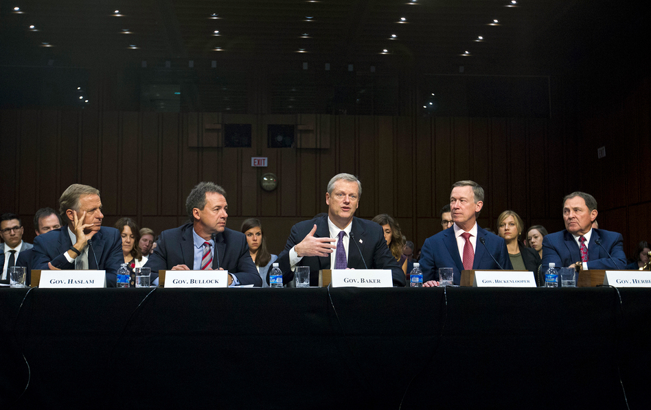 Governors from left; Bill Haslam of Tennessee, Steve Bullock of Montana, Charlie Baker of Massachusetts, John Hickenlooper of Colorado and Gary Herbert of Utah all testified Thursday about ways t improve the ACA. (Jose Luis Magana/AP)