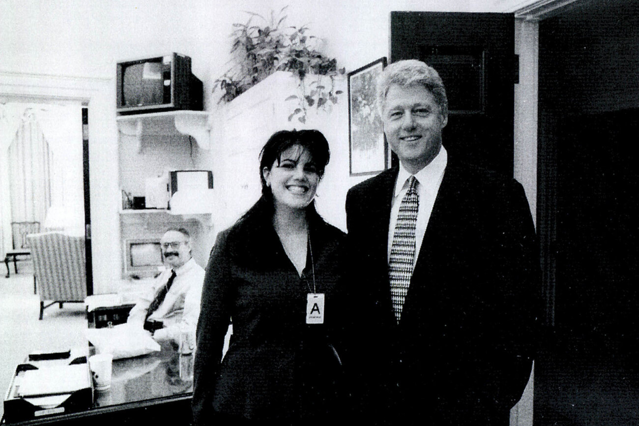 This photo of White House intern Monica Lewinsky meeting President Bill Clinton at the White House was submitted as evidence in documents included in the Ken Starr investigation and released by the House Judiciary Committee on Sept. 21, 1998. (Getty Images)