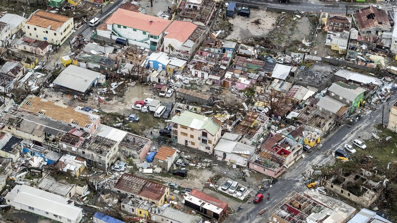An aerial photograph released by the Dutch Department of Defense shows the damage of Hurricane Irma in Philipsburg, on the Dutch portion of the Caribbean island of Sint Maarten. (Gerben Van Es/AFP/Getty Images)