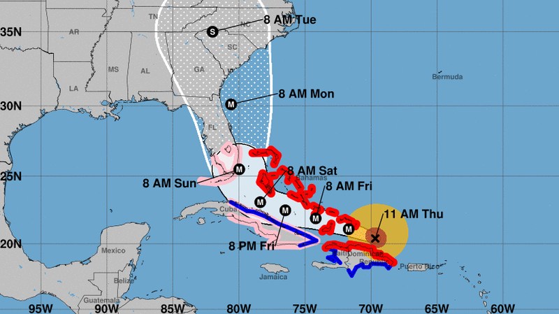 The five-day path prediction for Hurricane Irma includes a northern turn close to the coast of Florida. (National Hurricane Center)