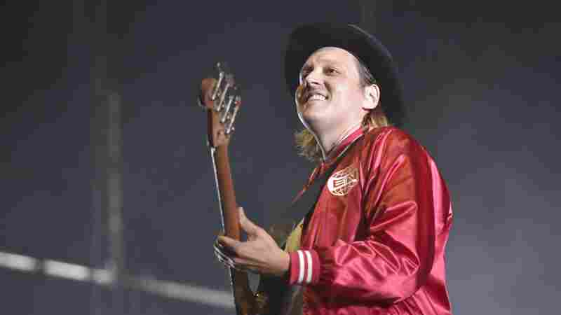 Win Butler of Arcade Fire performs at Lollapalooza on Aug. 6, 2017 in Chicago.