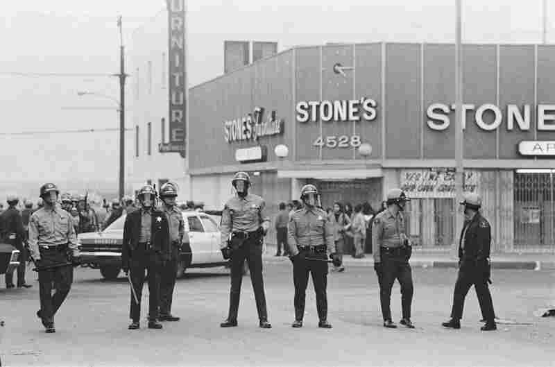 L.A. County Sheriff's Department deputies on Whittier Blvd. during La Marcha por la Justicia, East L.A. January 31, 1971.
