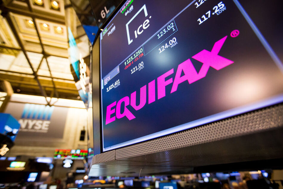 Equifax's stock price went sliding by double digits on Friday as millions of Americans struggled to get answers from the company about whether they were affected and what to do next. (Bloomberg via Getty Images)