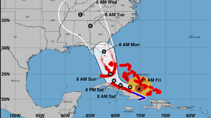 Hurricane Irma is predicted to run up the center of Florida, in the latest track released by the National Hurricane Center at 11 a.m. (National Hurricane Center)