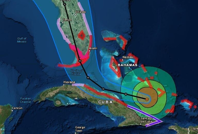 Hurricane Irma is expected to remain a Category 4 storm when it makes landfall in Florida this weekend. In this image from 11 a.m. ET, the red marks show areas under storm surge warnings. (National Hurricane Center)