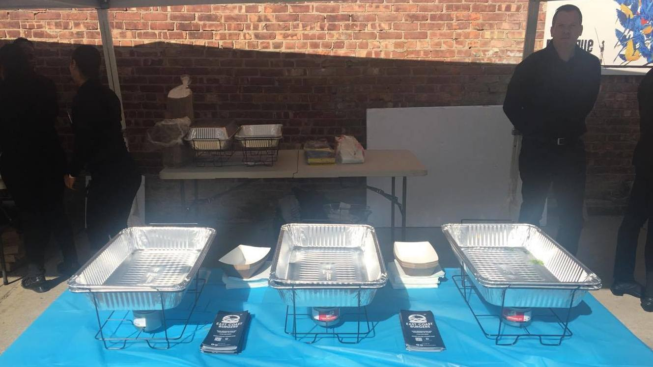 The hamburger table which according to attendee Sylwia Mordel remained entirely bereft of burgers at least an hour into the festival Sunday
