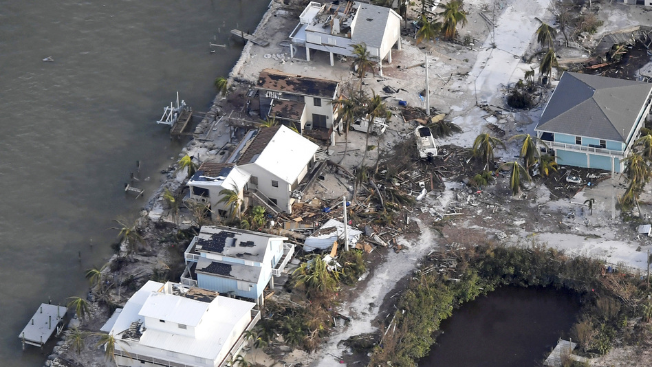 Houses in the Florida Keys damaged by Hurricane Irma are seen from a Coast Guard flight Monday. (Matt McClain/AP)