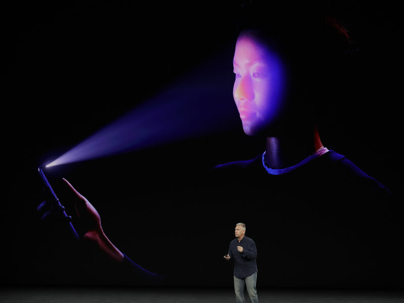 Apple's Schiller presents the iPhone's new facial-recognition feature called Face ID. (Marcio Jose Sanchez/AP)