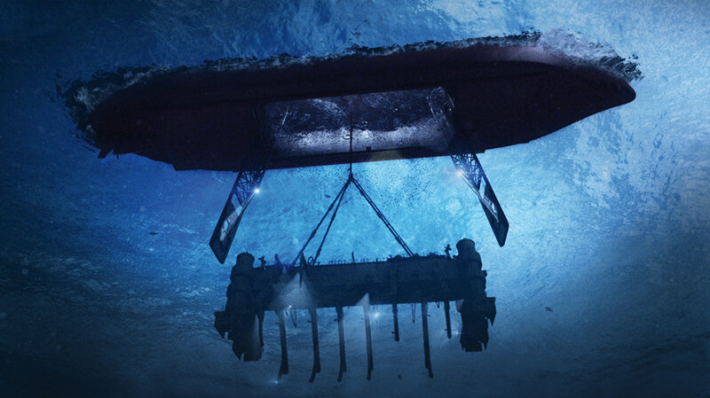 An artist's rendering of the Hughes Glomar Explorer (on the surface) and the submersible vehicle, with clawlike arms that were used to pick up part of the Soviet sub in 1974. (Michael White/Project Azorian)