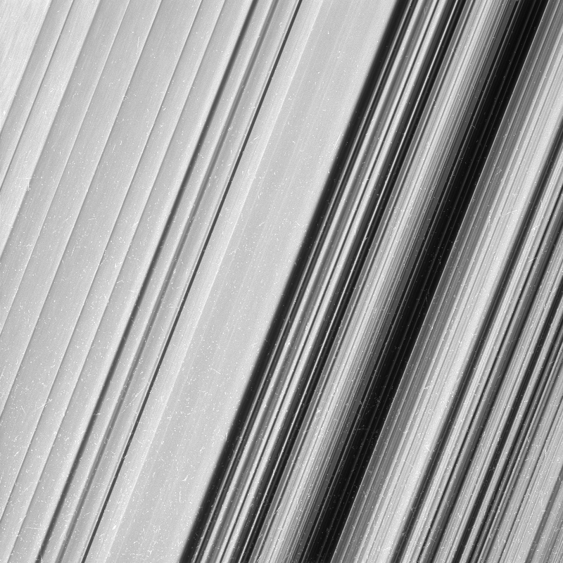 This image shows a region in Saturn's outer B ring.