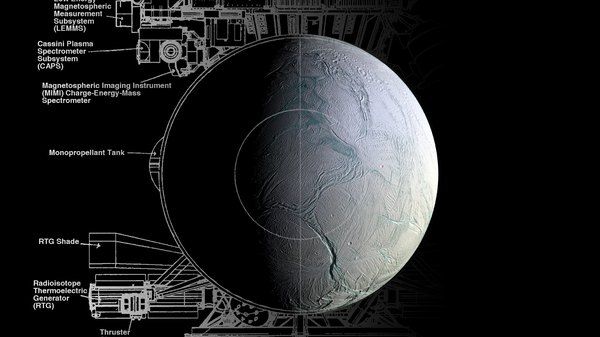 A technical diagram of the Cassini spacecraft and a view of the icy moon Enceladus