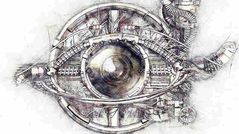 Sketch of a technical-mechanical eye, 3D Illustration