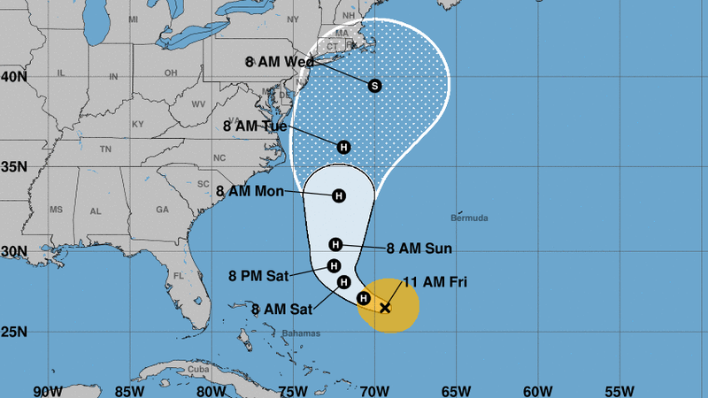 Jose is predicted to become a hurricane Friday — and to remain one as it shifts to a northern track along the U.S. East Coast. (National Hurricane Center)