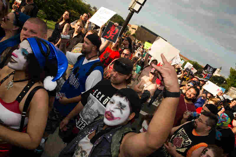Juggalos marching away from the Lincoln Memorial in Washington, D.C., for Saturday's Juggalo March.
