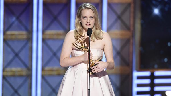 Elisabeth Moss accepts the award for outstanding lead actress in a drama series for The Handmaid