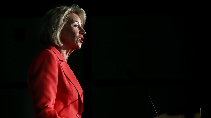 "During a recent policy address, Secretary of Education Betsy DeVos insisted repeatedly that there's a ""better way"" for colleges handle campus sexual assault. (Jacquelyn Martin/AP)"