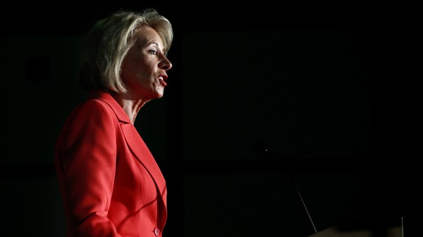 """During a recent policy address, Secretary of Education Betsy DeVos insisted repeatedly that there's a """"better way"""" for colleges handle campus sexual assault."""